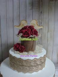 Rustic Wood Bark Antique Lace Burgundy Roses We Do Wedding