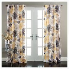 leah curtain panels room darkening set of 2 yellow gray target