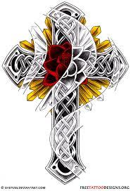 Celtic Cross Tattoo Design With Rose