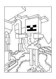 Skeleton Minecraft Coloring Pages