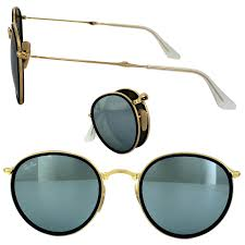 ray ban sunglasses round folding 3517 001 30 gold silver flash