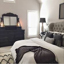Master Bed Tufted Grey Headboard Black BedroomBedroom Decor DarkDark Furniture