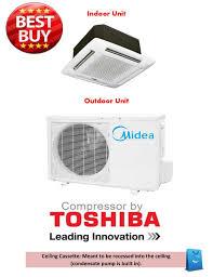 Mini Split Ceiling Cassette Air Conditioner by Midea Dual Zone 12k Ceiling Cassette Mini Split Heat Pump Ac