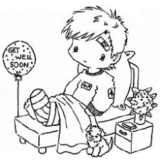 Little Boy With Broken Leg Coloring Pages