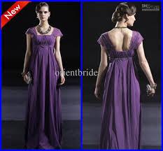 purple cap sleeves beaded empire waist ruffles long formal
