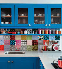 Decoration Spectacular Kitchen Tile Photo Gallery With Colorful Backsplash Ideas Also Inspiration Blue Cabinets Shelves And Red Pan On Stoves Along