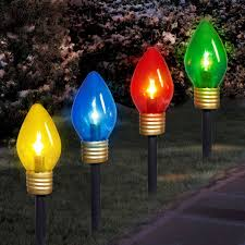holiday time christmas lights jumbo c9 lighted lawn stake 4 piece