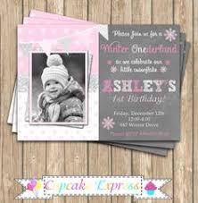 Winter Wonderland Girl Pink Silver Grey 1st Birthday Invitation By CupcakeExpress Photo Snowflakes Snowflake