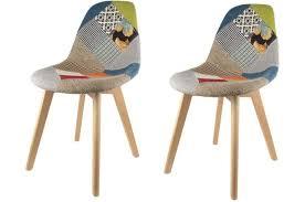 chaises color es lot de 2 chaises scandinaves patchwork colorés design sur