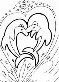 Coloring Dolphin Two Dolphins In A Heart Free To Print