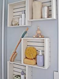 Original Desaign Crate Decorating Ideas With White Color And Wooden MaterialIn High Blue Wall Paint Plus Chic Accessory Suitable For Modern Bathroom