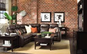 Modern Rustic Brick Wall Living Room Decor With Wonderful Plan Excerpt Brown