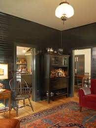 Love The Black Painted Walls With Hickory Hardwood Floors Great Combination Dining Room