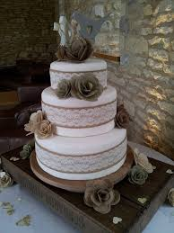 Rustic Burlap Hessian Wedding Cake Lace Bands With Flowers All Handmade