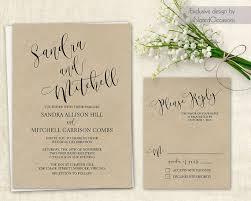 Printable Wedding Invitation Set Script Calligraphy Handwriting Kraft DIY Boho Rustic