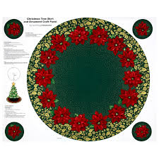 Zoom QT Fabrics Poinsettia Grandeur Metallic Tree Skirt 355 Panel Forest