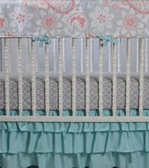 Aqua And Coral Crib Bedding by Gray Coral Nursery Coral Crib Skirt Gray