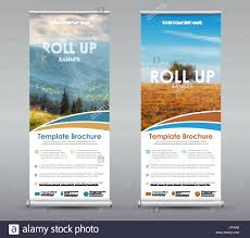 Template Universal Roll Up Banner For Business Or Travel Design A Vertical Brochure With Mountains And Field Place Photos Informati