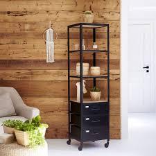 hochschrank für badezimmer aus metall und mangoholz 170