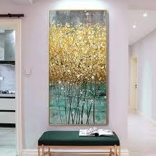 abstrakte goldene leinwand malerei große größe grün gold poster drucke moderne luxus wand bild cuadros für wohnzimmer wohnkultur