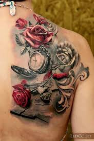 Rose Themed Realistic Tattoo With A Watch Music Book The Symbolic Objects In
