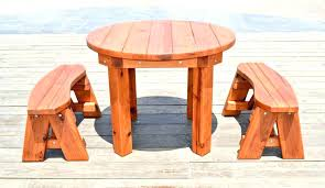 Round Wooden Outdoor Table Cool Wood Patio