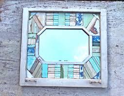 Blue Mosaic Bathroom Mirror by Reclaimed Wood Mirror Framed Mosaic Mirror Beach Mirror
