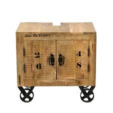 sit möbel rustic waschbeckenunterschrank auf rollen aus lackierten mangoholz