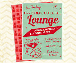 Retro Cocktail Party Christmas Printable Invite Lounge