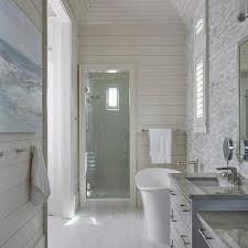 Long Master Bath With Shiplap Trim