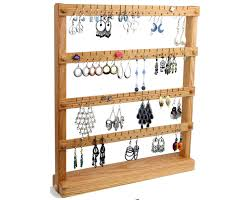 Oak Wooden Jewelry Holder Earring Stand Holds Up To
