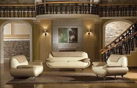 light brown beige two tone leather 3pc living room set 2812