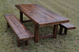 Rustic Outdoor Dining Table Wood Patio Furniture 19