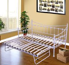 canap lit fer forg lit gigogne lit canapé banquette en métal démontable 3 places blanc