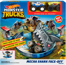 100 Hot Wheels Monster Truck Toys S Mecha Shark FaceOff Play Set Blue