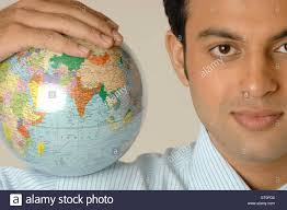 bureau vall guing office going holding earth on shoulder mr 748l stock photo
