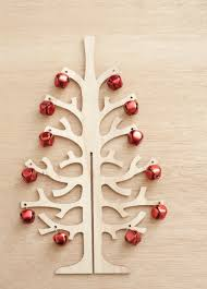 Wooden Christmas Tree Shape Decorated With Small Red Balls