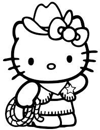 Hello Kitty Country Cowboy Coloring Page