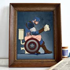 Etsy Bathroom Wall Art by Superhero Captain America On The Toilet Poster Wall Art Print By