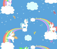 Playful Unicorns And Rainbows Fabric By Lyddiedoodles On Spoonflower