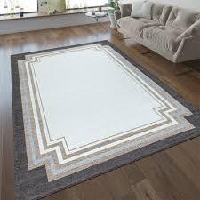 kurzflor teppich wohnzimmer bordüre in beige