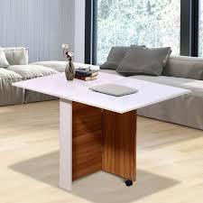 homcom klapptisch küche mobiler tisch schreibtisch mit rollen holz weiß schreibtisch esszimmertische beistelltisch eiche weiß eiche weiß