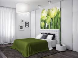 Cozy Simple Modern Small Apartment Bedroom Interior Designs With Stylish Decoration Ideas Drum Bedside Table Yellow Tulip Flower Wallpaper Along