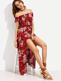 burgundy flower print off the shoulder high low romper emmacloth