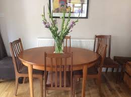 Teak Dining Room Table Chairs Display Cabinet