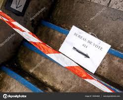 bureau de vote bureau de vote sign on floor damaged secure stripe stock photo