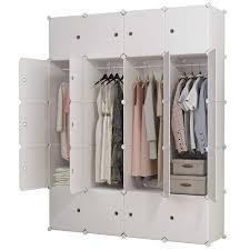 KOUSI Portable Clothes Closet Clothing Storage Plastic Dresser Shelves Armoire Wardrobe Moving Boxes Rack Bins Shelf Closet For Bedroom Organizers And