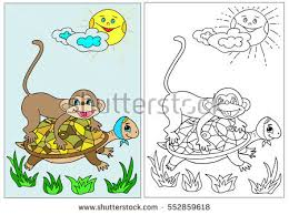 Coloring Book The Turtle A Monkey Hand Drawn Black And White