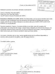 AMPA Flavio San Román RENUNCIA DE VARIOS MIEMBROS DE LA JUNTA