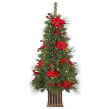 4 Pre Lit Poinsettia Berry And Pine Cone Potted Christmas Tree